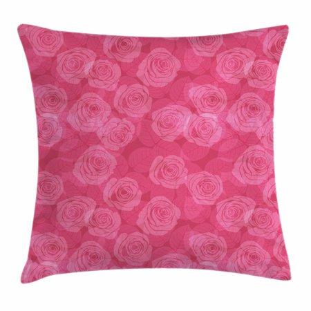 Rose Throw Pillow Cushion Cover, Shades of Pink with Gentle Seasonal Flora Romance Love Theme Valentine's Day Inspired Design, Decorative Square Accent Pillow Case, 16 X 16 Inches, Pink, by - Seasonal Themes