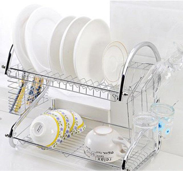 Ktaxon Stainless 2-Layer Dish Drainer Multifunctional Silver Kitchen Dish Rack