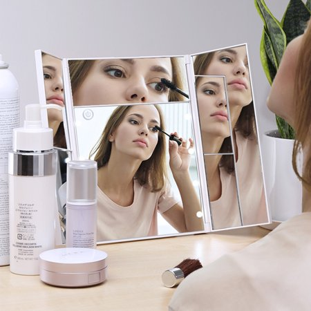 - LANGRIA Trifold LED Lighted Makeup Mirror with Lights, Trifold LED Lighted Makeup Mirror with 3X/2X/5X Magnification Dimmable Vanity Mirror