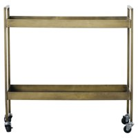 3R Studios Metal 2-Tier Bar Cart on Caster Wheels