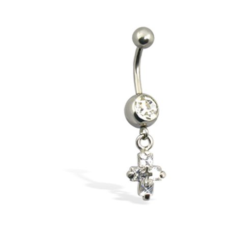 Crystal Cross Belly Button Ring