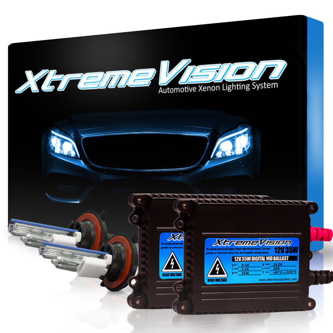 XtremeVision 35W HID Xenon Conversion Kit with Premium Slim Ballast - H13 / 9008 8000K - Medium Blue - 2 Year Warranty