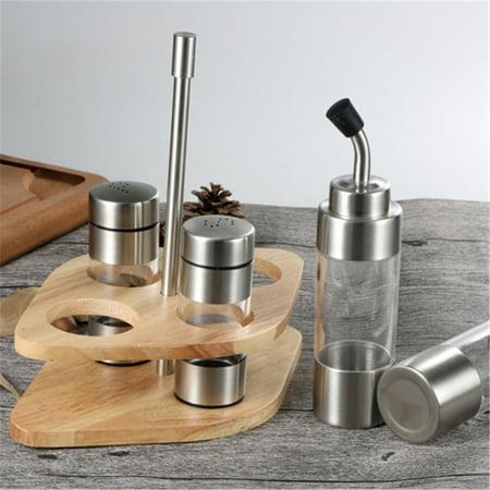 Seasoning Bottle Set with Wooden Rack Translucent Pepper Bottle Holder Kitchen Tools for Oil Salt Vinegar Soy Sauce Storage - image 6 de 9