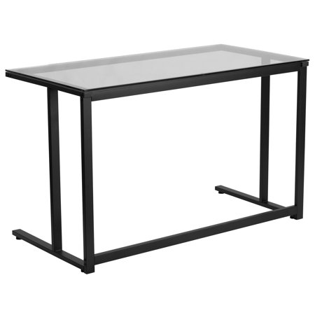 A Line Furniture Hawis Black Frame and Glass Top Office Desk ()