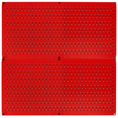Wall Control Pegboard Rack Home & Garage Tool Storage & Organization Red Metal Pegboard Pack - Two 32-Inch Wide x 16-Inch Tall Red Steel Peg Board Panels