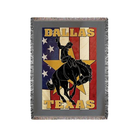 Dallas, Texas - Cowboy & Bucking Bronco - Lantern Press Artwork (60x80 Woven Chenille Yarn Blanket)