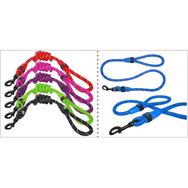 Doco DCROPE3048-01L Reflective Rope Leash with Super Soft Rubber Grip, Black - Large