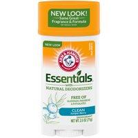 ARM & HAMMER Essentials Deodorant with Natural Deodorizers, Clean, Wide Stick, 2.5 oz.