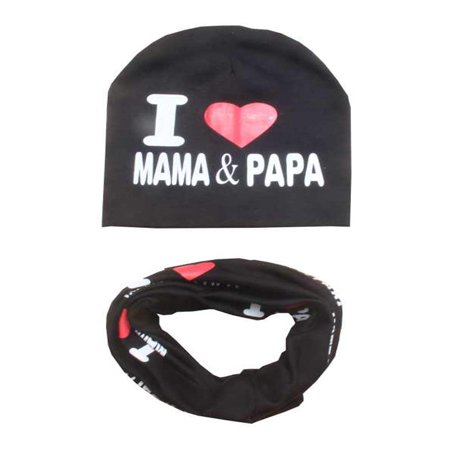 I Love Mama&Papa Toddler Infant Child Kid Girls Boys Baby Cotton Baby Kids Winter Warm Hat Scarf Set