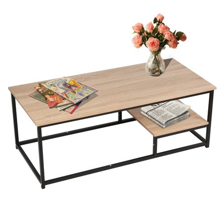 Peachy Karmas Product 47 Modern Coffee Tea Table Square With Storage Shelf Heavy Duty Industrial Cocktail Table Metal Frame And Wood Top For Living Room Gamerscity Chair Design For Home Gamerscityorg