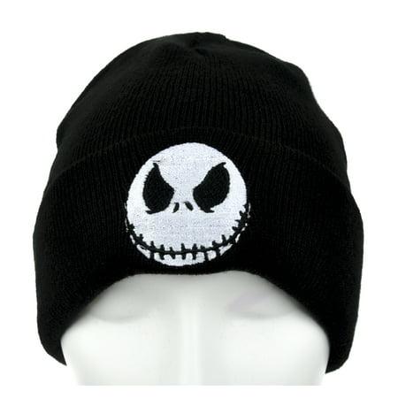 b3b3db1fc622a Jack Skellington Evil Grin Cuff Beanie Nightmare Before Christmas Knit Cap  - Walmart.com