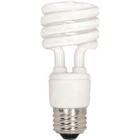 SATCO SPIRAL COMPACT FLUORESCENT LAMP, T2, MINI, 18 WATTS, 120 VOLTS, 5000K, 82 CRI, MEDIUM BASE, 12