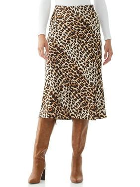 Scoop Womens Printed Midi Slip Skirt, Neutral Ombr Leopard