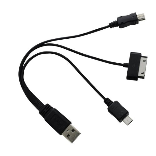 Inland 03235 3-In-1 USB Multi-Charger Data Cable - Retail Packaging - Black