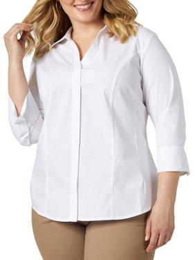 Lee Riders Women's Plus Size Quarter Sleeve Classic Button-Front Career Shirt
