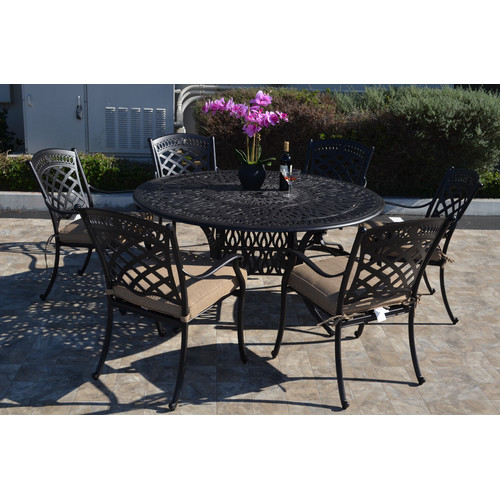 Fleur De Lis Living Wildermuth 7 Piece Dining Set with Cushions