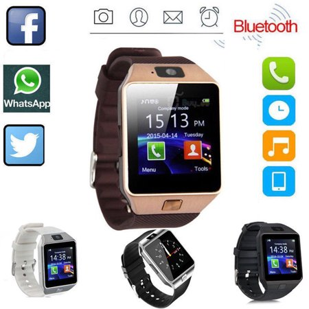 DZ09 Bluetooth Smart Watch Phone + Camera SIM Card For Android IOS Phones,Gold