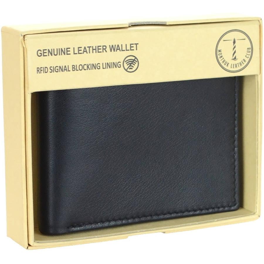 Ferrini Wallet Mens Trifold Alligator Leather Slots Window Black ABTF