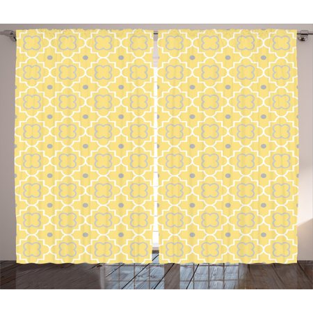 Quatrefoil Curtains 2 Panels Set Traditional Abstract Pattern With Moroccan Arabesque Middle Eastern Effects