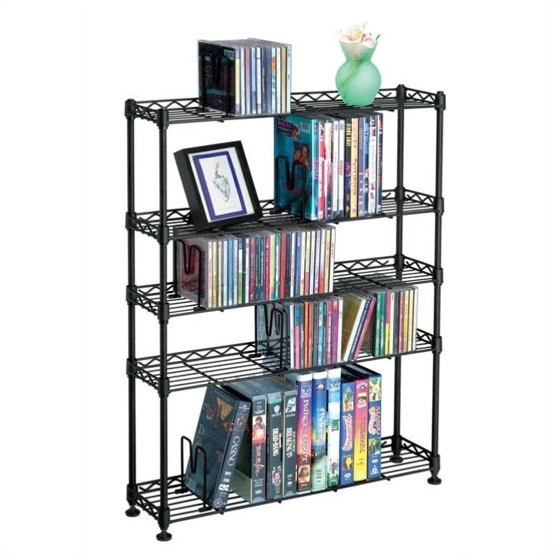 "Atlantic Inc 31"" 5-Tier Adjustable Media Rack in Black by Atlantic Inc"