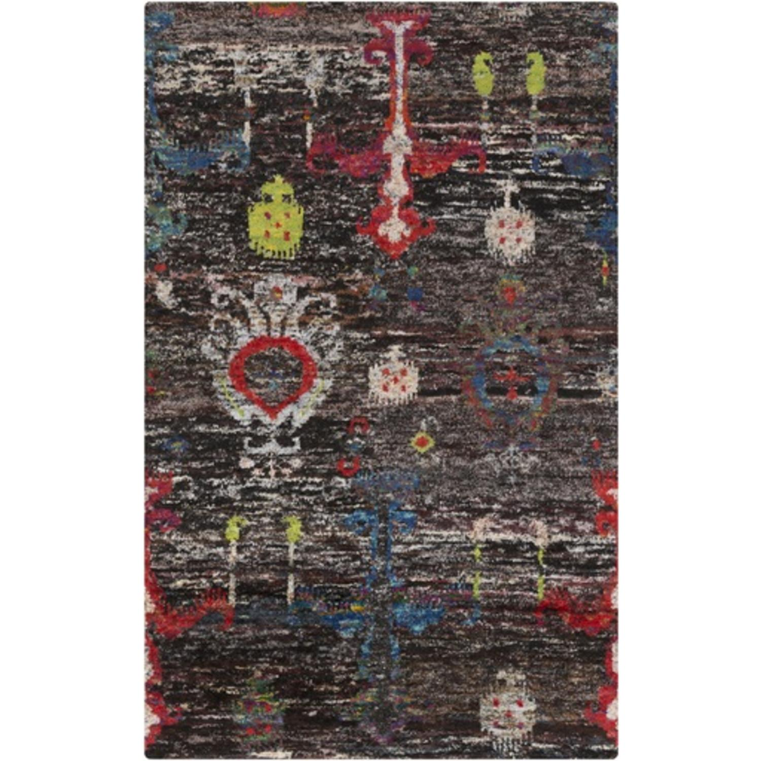 2' x 3' Turkish Bazaar Black, Burgundy and Cobalt Blue Hand Knotted Area Throw Rug