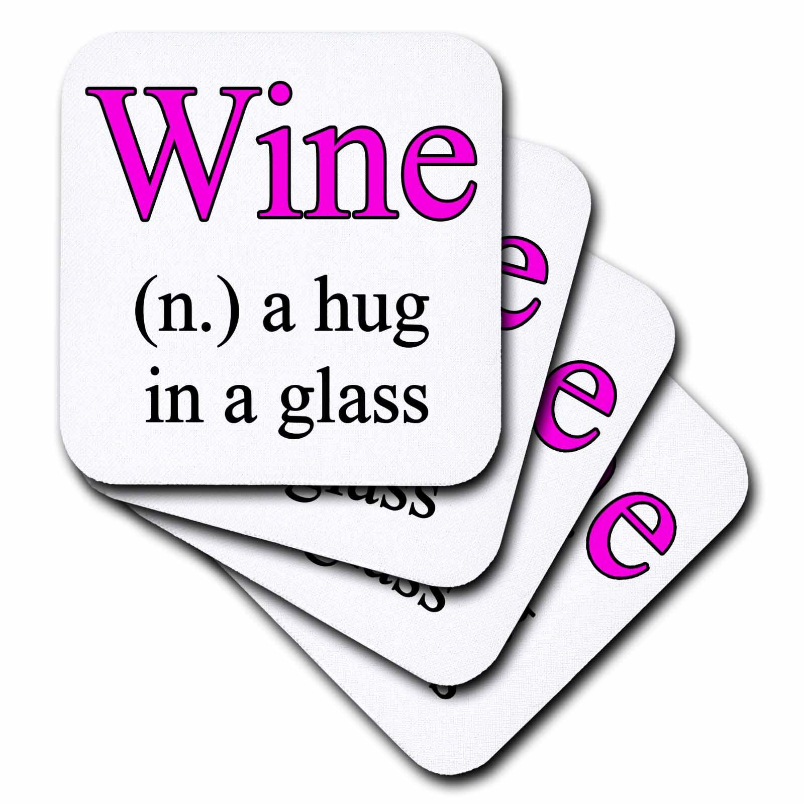 3dRose Wine a hug in a glass, Pink, Ceramic Tile Coasters, set of 4