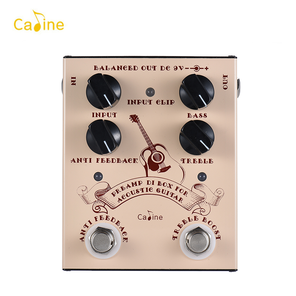 Caline Pre-amp DI Box for Acoustic Guitar Supports Bass Treble Control with ANTI FEEDBACK & TREBLE BOOST Footswitches