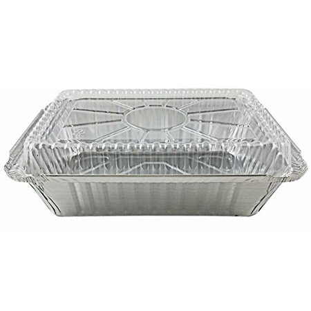 "Pactogo 2 1/4 lb. Oblong Deep Aluminum Foil Take-Out Pan with Clear Plastic Dome Disposable Containers 8.44"" x 5.94"" x 1.81"" (Pack of 500 Sets)"