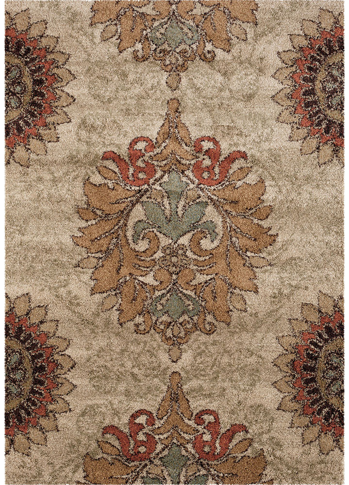 Orian Wild Weave Area Rugs 1609 High Pile Floral Petals Blossom Medallion Rings Rug by Orian