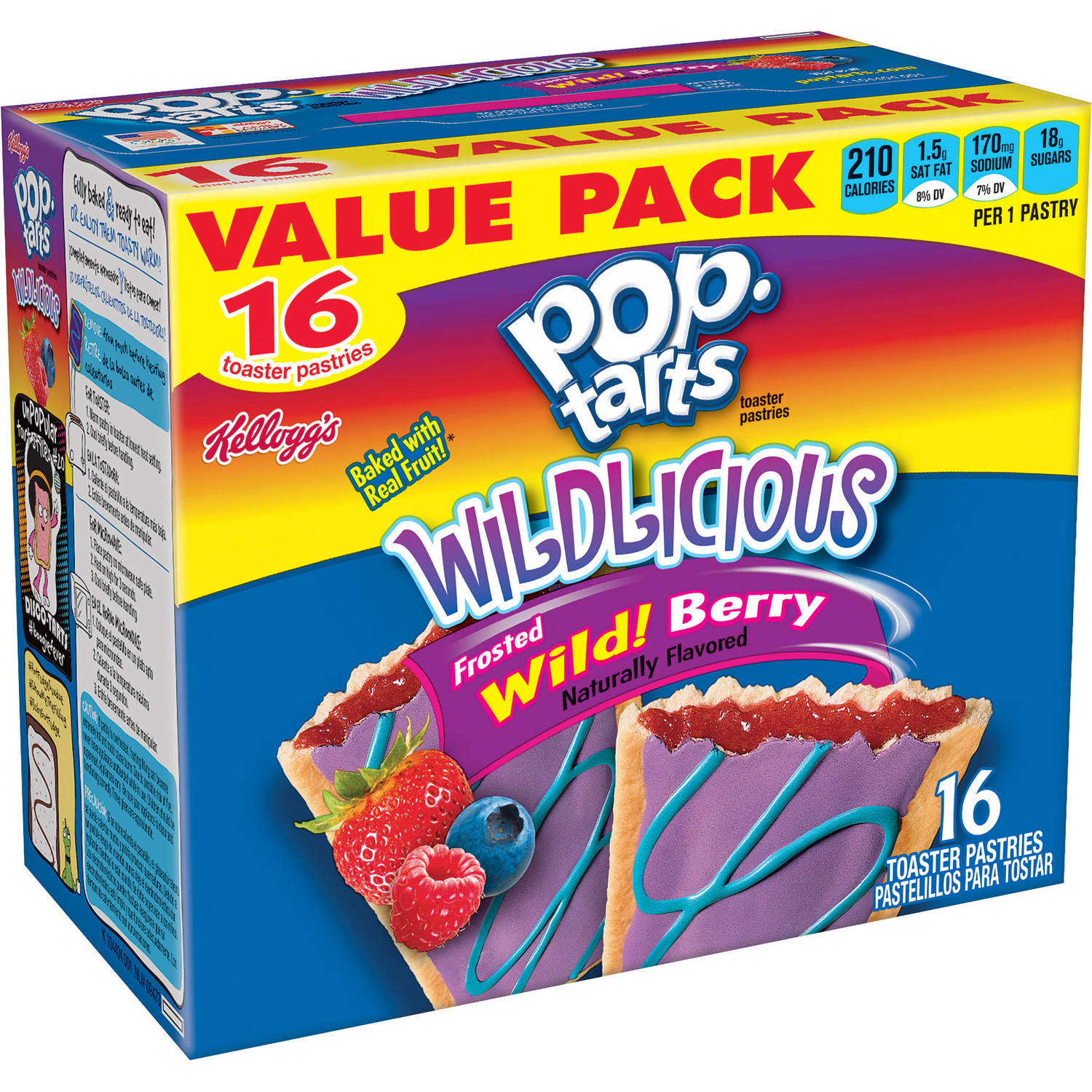 Kellogg's Pop-Tarts Wildlicious Frosted Wild! Berry, 16 ct, 30.4 oz