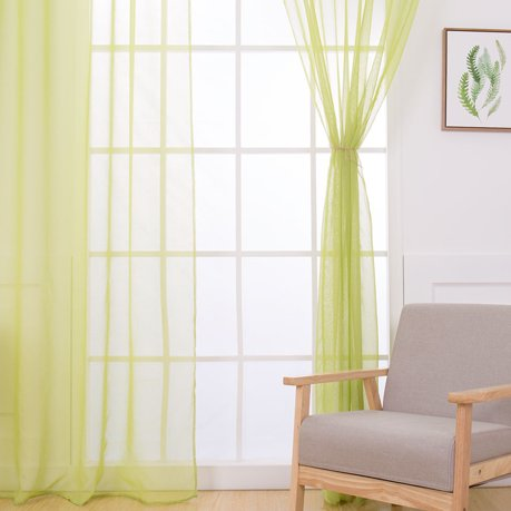 Home High Thread Rod Pocket Sheer Voile Curtain Panel Window Curtains Olive Green