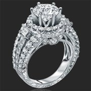 18K Gold 1.8 CTTW Cubic Zirconia Crystal Halo Ring Women's Princess Cut CZ