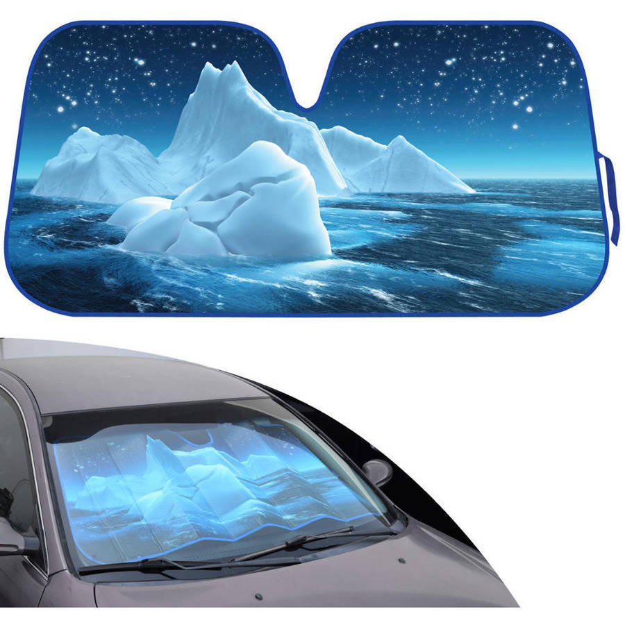 BDK Design Auto Auto Shade for Car SUV Truck, Keep it Cool with Blue Glacier Iceberg, Jumbo, Double Bubble Folding Accordion