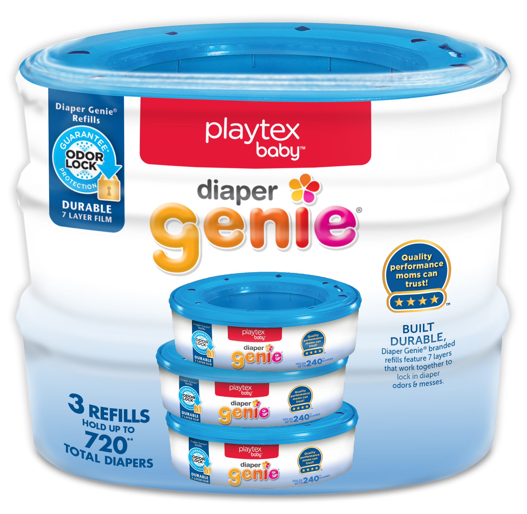 Playtex Diaper Genie Refills for Diaper Genie Diaper Pails - 3 Count
