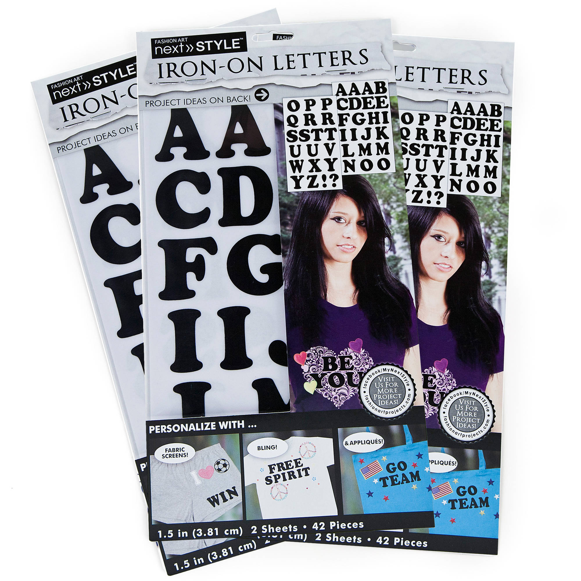 "Next Style 1.5"" Black Iron-On Letters, KE Style, 3pk by Horizon Group USA"