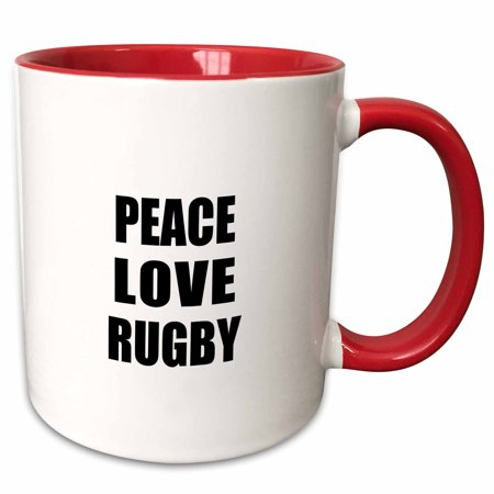 3dRose Peace Love and Rugby - Things that make me happy - Ruggers player gift - Two Tone Red Mug, 15-ounce