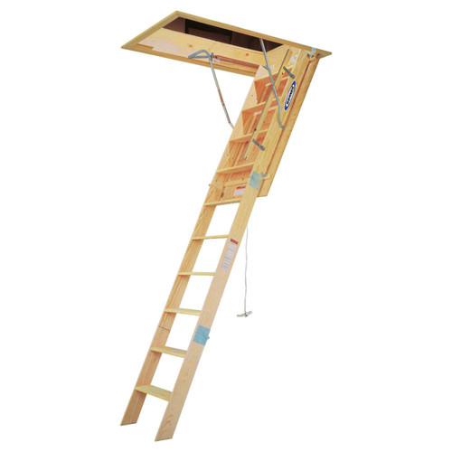 werner wh3008 8 ft heavyduty wood attic ladder 54 in x - Werner Ladder