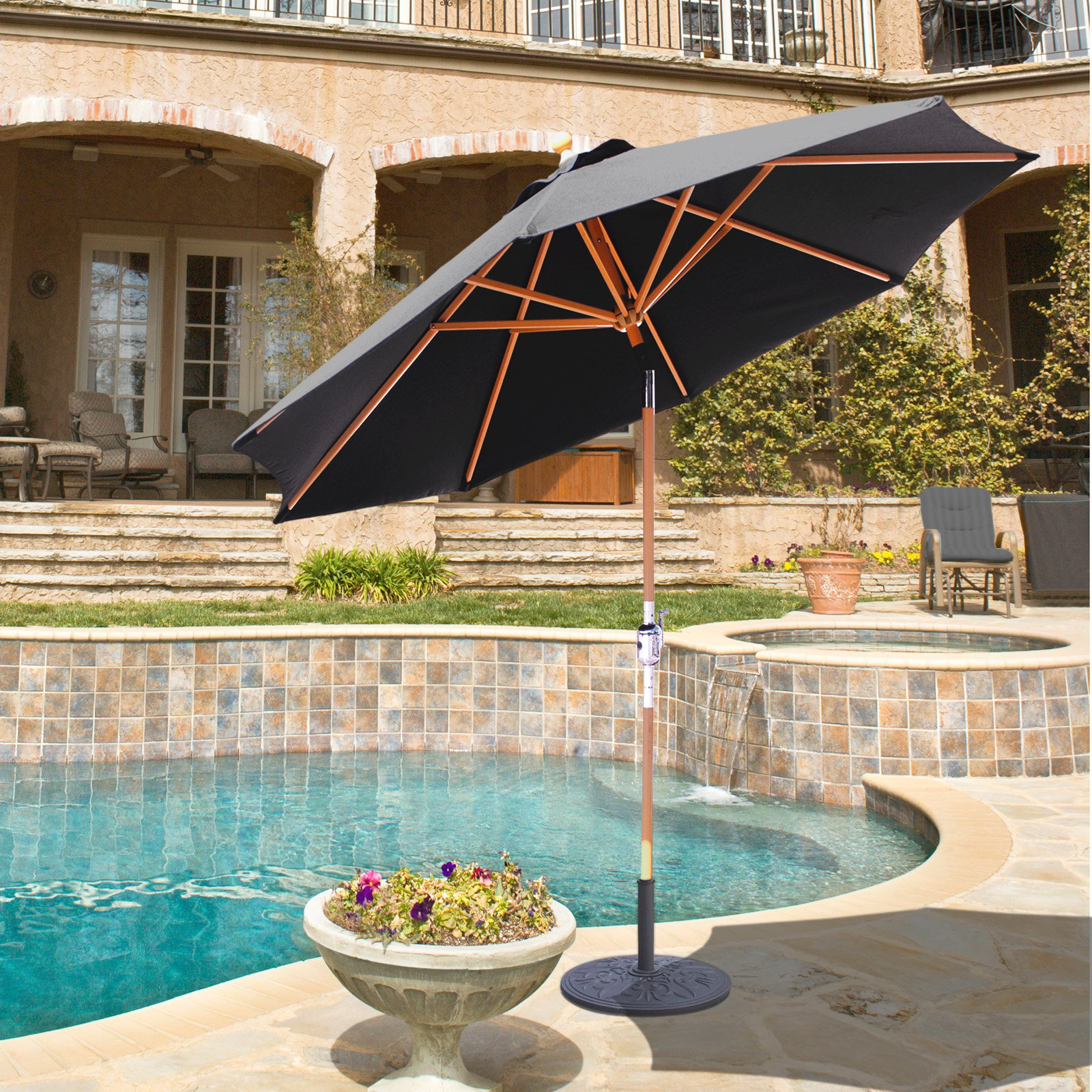 Galtech 9-ft. Rotational Tilt Wood Sunbrella Patio Umbrella ...