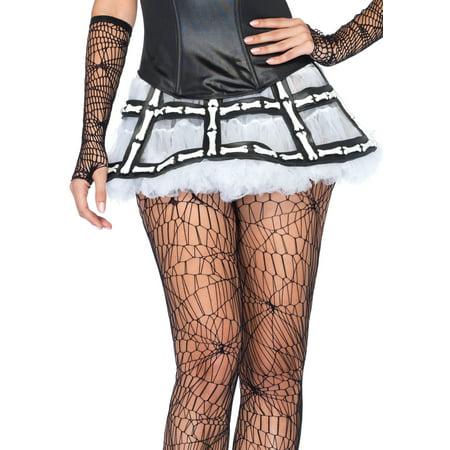 Leg Avenue Rubber Bone Cage Skirt Costume Accessory, Black/White, One Size](Rubber Costumes)
