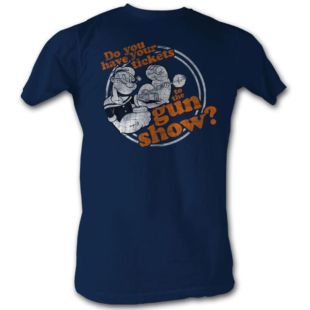 Popeye Men's  Gun Show T-shirt Navy