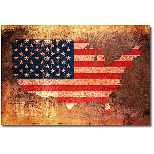 """Trademark Art """"US Flag Map"""" Canvas Wall Art by Michael Tompsett"""