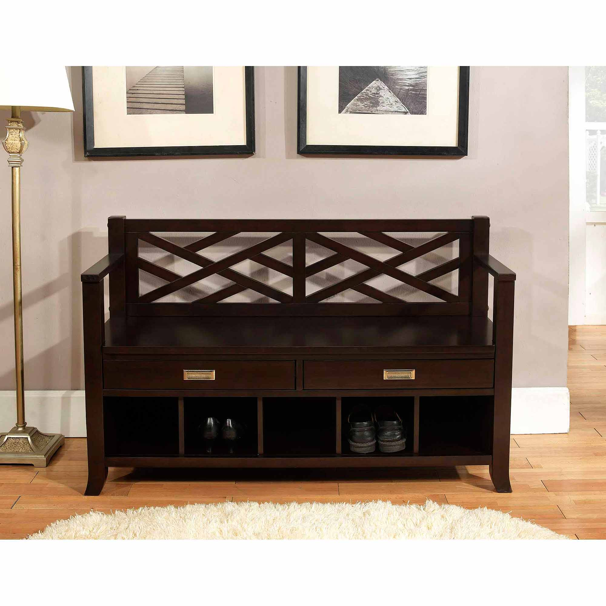 simpli home sea mills entryway storage bench with drawers