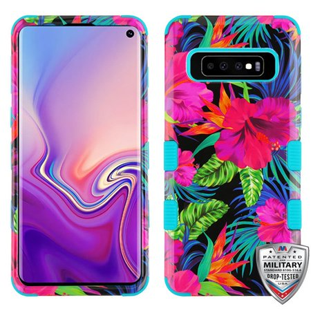 Samsung Galaxy S10 Phone Case Tuff Hybrid Shockproof Impact Rugged Rubber Dual Layer Hard Soft TPU Protective Hard Cover Rubberized Colorful Hibiscus Flowers Case for Samsung Galaxy S10 (6.1 (Soft Rubberized Case Cover)