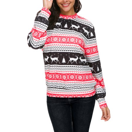 Xmas Women Hoodie Sweatshirt Sweater Jumper Ladies Christmas Deer Snowflake Striped Print  Pullover Tops (Snowflake Pullover Sweater)