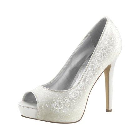 Womens Ivory Wedding Shoes Open Toe Pumps Glitter Platform 4 3/4 Inch Heels for $<!---->
