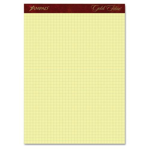 AMPAD Corporation Gold Fibre Canary Quadrille Pad, 8-1/2'' x 11-3/4'', Canary, 4 squares/inch, 50 Sheets (Set of 2)