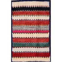 RugSelect Modern Geometric Gabbeh Hand Knotted Wool Rug 2x3