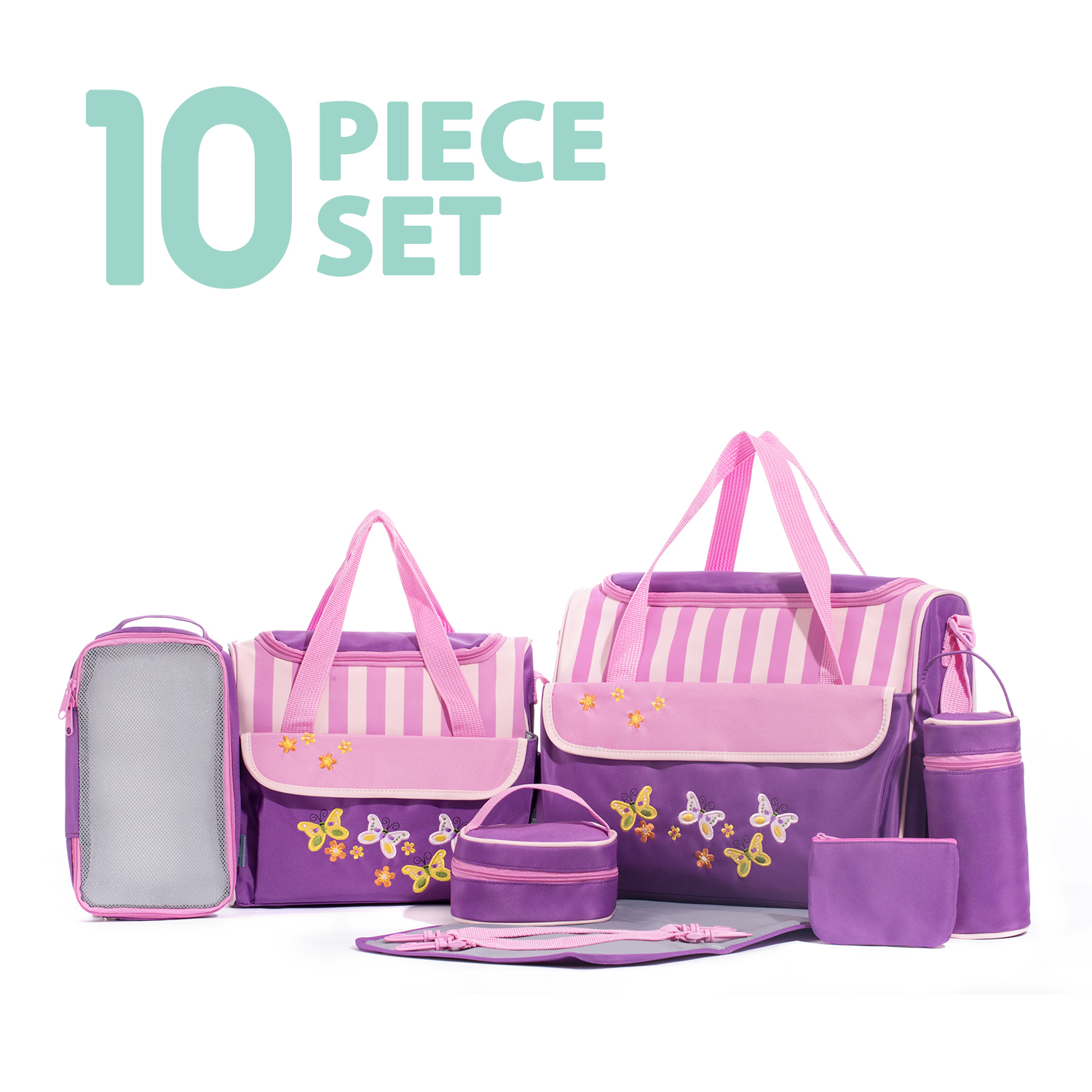 SOHO Collections, 10 Pieces Diaper Bag SetLimited time offer (Butterflies Meadows)