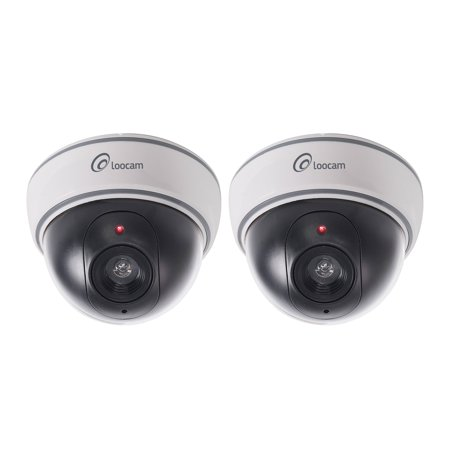 Loocam 2 X Fake Dummy Camera Imitation Decoy Dome Indoor Outdoor Security With Flashing Red Led Light