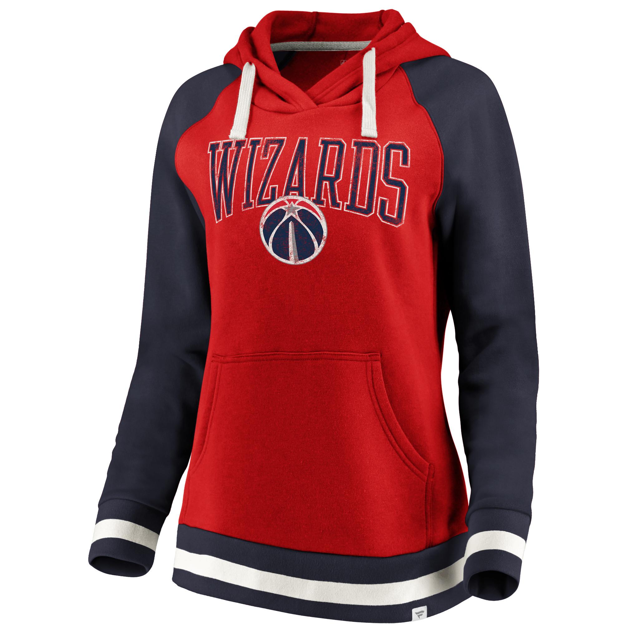 9892f6a19aeb8c Washington Wizards Fanatics Branded Women s True Classic Vintage Retro  Stripe Raglan Fleece Pullover Hoodie - Red Navy